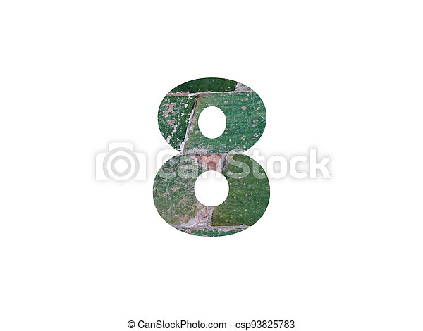 Number 8 of the alphabet made with green tiles - csp93825783