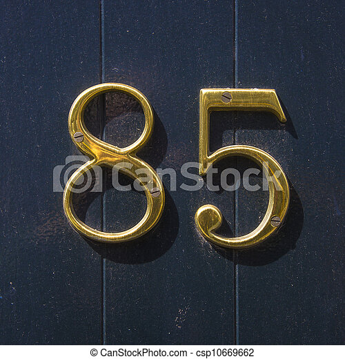 Number 85 House Number Eighty Five In Gold Lettering On A