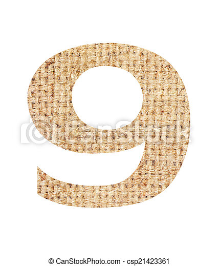 Number 9 Made From Sackcloth Brown Isolated On White Background And Clipping Path