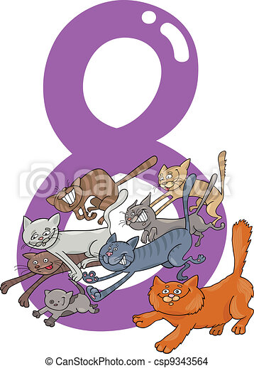 number eight and 8 cats - csp9343564
