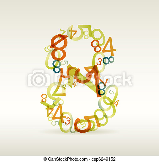 Number eight made from colorful numbers - csp6249152