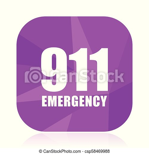 Number emergency 911 violet square vector web icon. Internet design and webdesign button in eps 10. Mobile application sign on white background. - csp58469988
