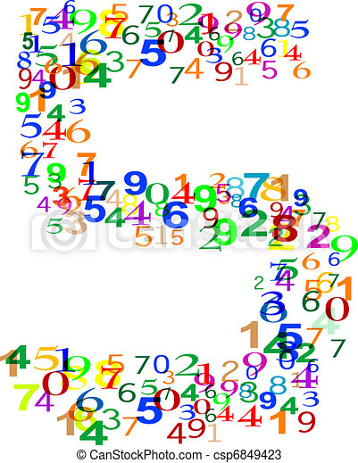 Number Five 5 made from colorful numbers - csp6849423