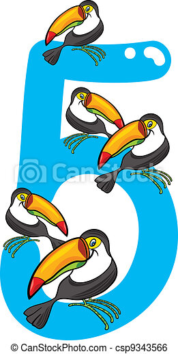 Number Five And 5 Toucans Cartoon Illustration With Number Five And Toucans Canstock