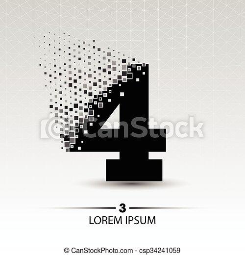 Number four logo vector design illustration - csp34241059
