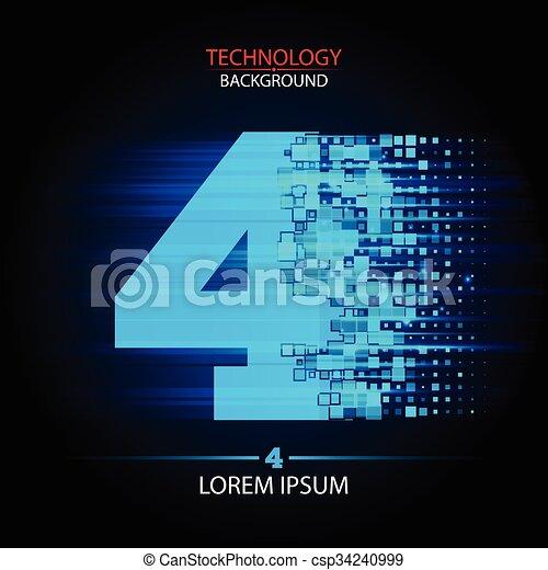 Number four logo vector technology design - csp34240999