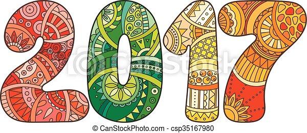 number., illustration, vecteur, année, nouveau, 2017, célébration, noël, zentangle., heureux - csp35167980