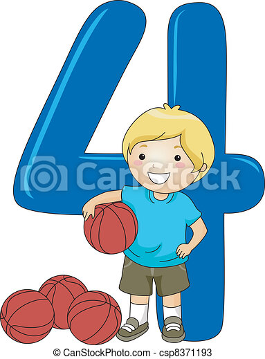 number kid 4 illustration of a kid holding a ball vectors search rh canstockphoto com number four clipart number 4 birthday clipart
