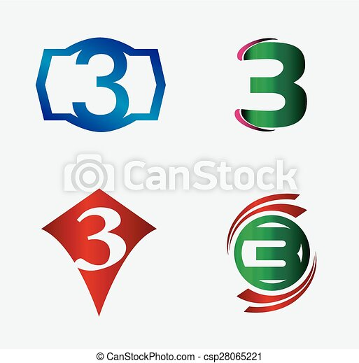 Number logo designmber three logologo 3 vector template number logo designmber three csp28065221 maxwellsz