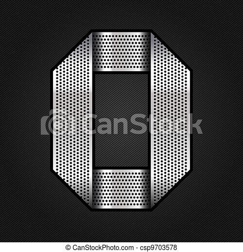 Number metal chrome ribbon - 0 - zero - csp9703578