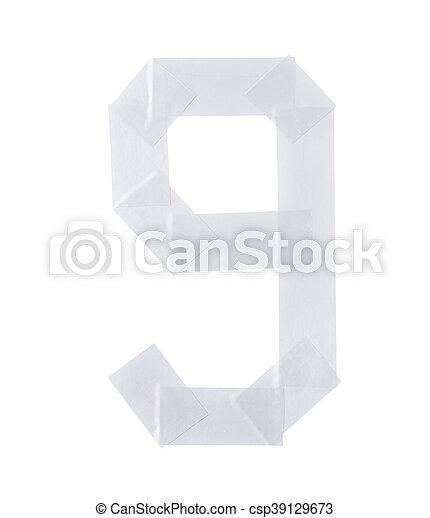 Number nine symbol made of insulating tape - csp39129673