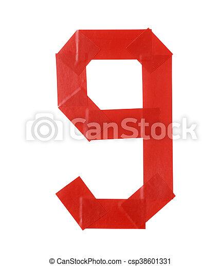 Number nine symbol made of insulating tape - csp38601331
