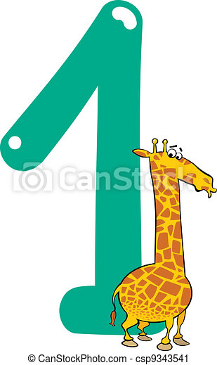 number one and giraffe - csp9343541