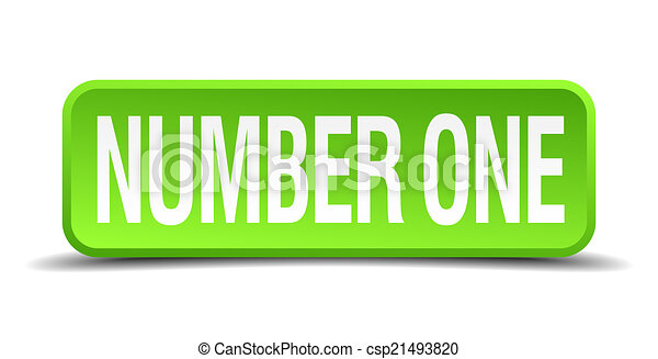 number one green 3d realistic square isolated button - csp21493820