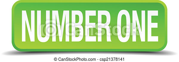 number one green 3d realistic square isolated button - csp21378141