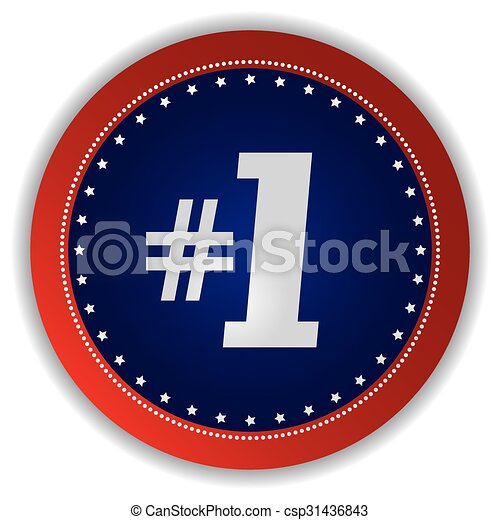 number one icon button - csp31436843