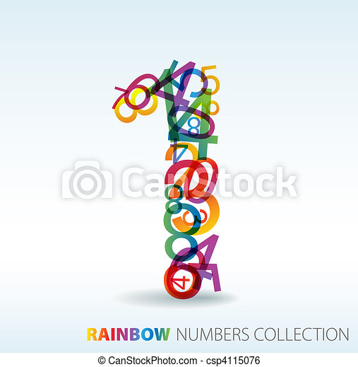 Number one made from colorful numbers - csp4115076