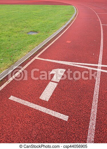 Number one. White track number on run rubber racetrack - csp44056905