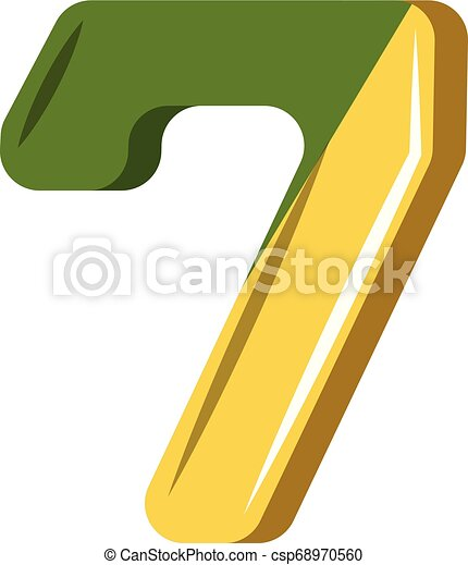 Number seven in green and yellow illustration vector on white background - csp68970560