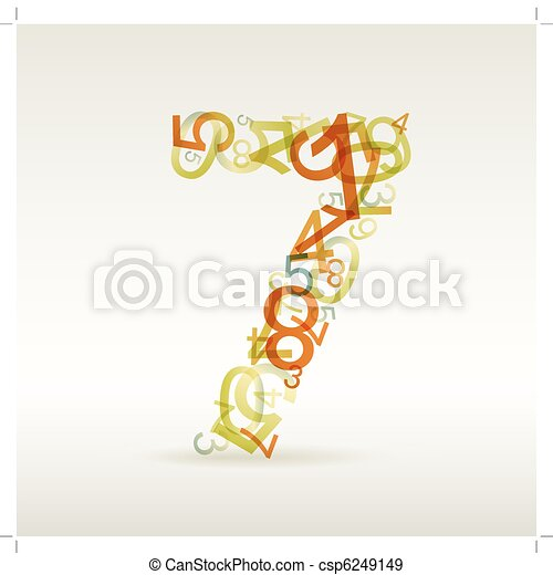Number seven made from colorful numbers - csp6249149