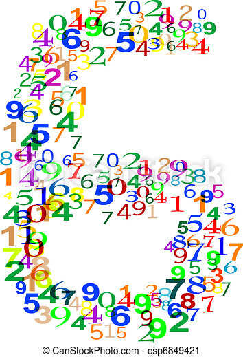 Number Six 6 made from colorful numbers - csp6849421