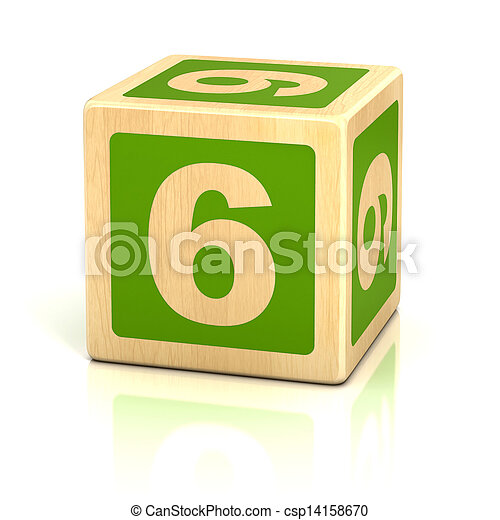 number six 6 wooden blocks font - csp14158670