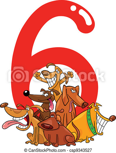 cartoon illustration with number six and group of dogs