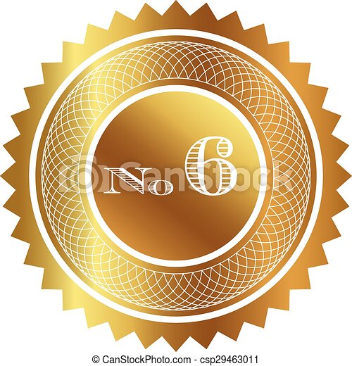 Number six gold seal - csp29463011