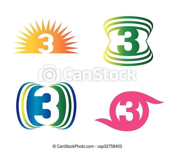 Number three 3 logo symbol design template elements number three 3 logo symbol design csp32758403 maxwellsz