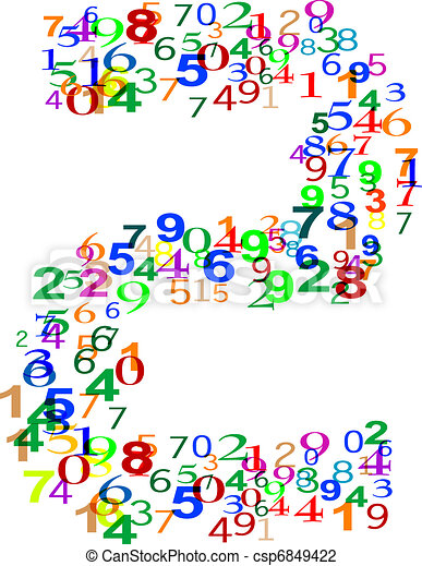 Number Two made from colorful numbers - csp6849422