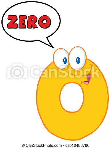 Number Zero Funny Cartoon Character - csp10488786