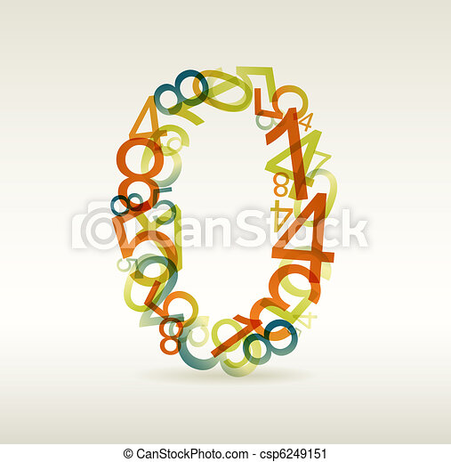 Number zero made from colorful numbers - csp6249151