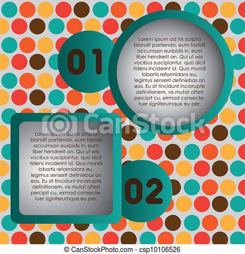 Numbering in colored squares and circles - csp10106526
