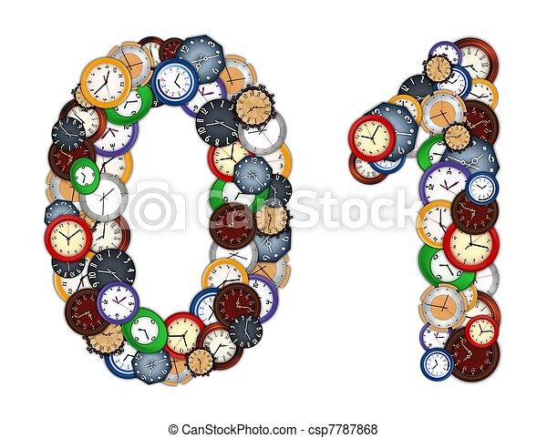 Numbers 0 and 1 made of various clocks - csp7787868