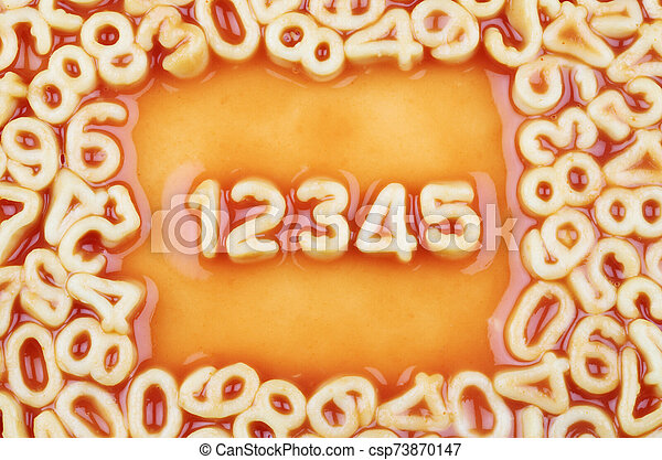 Numbers 12345 in Spaghetti - csp73870147