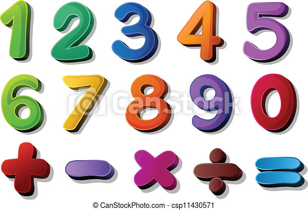 numbers and maths symbols - csp11430571
