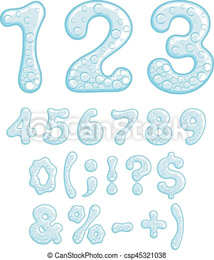 Numbers and symbols of sparkling water. - csp45321038