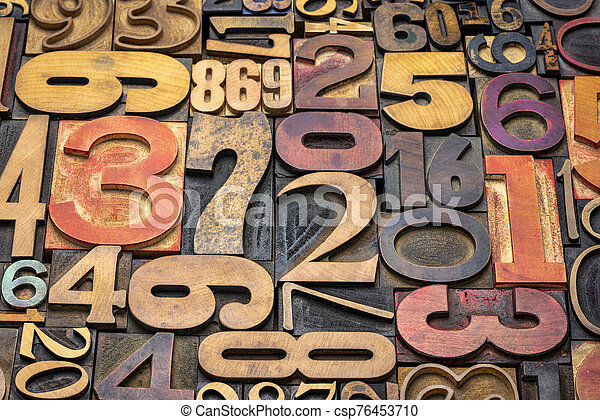 numbers background in letterpress wood type - csp76453710