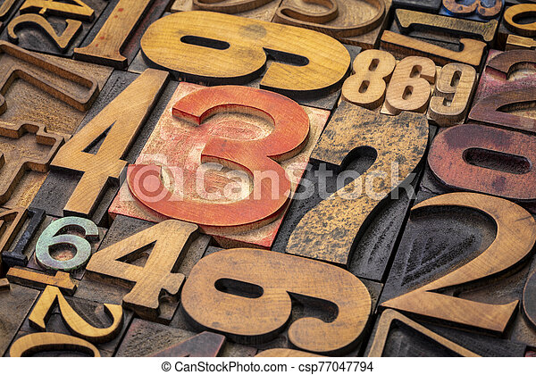 numbers background in letterpress wood type - csp77047794