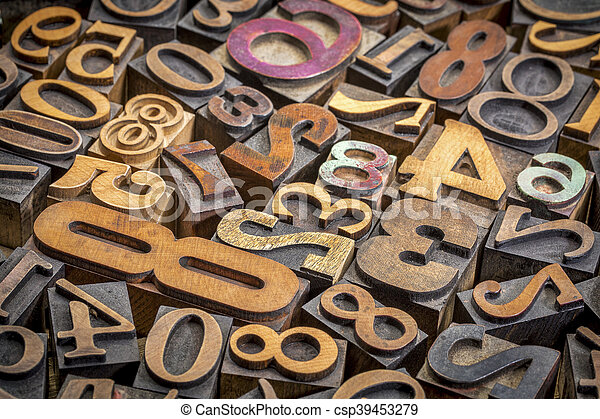 numbers background in wood type - csp39453279