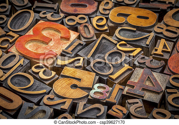 numbers background in wood type - csp39627170