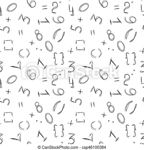 Numbers Background Seamless Pattern Vector Numbers Background