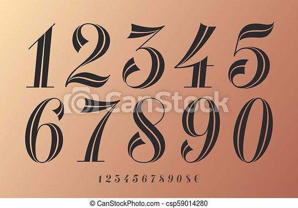 Numbers font. classical elegant font of numbers with ...