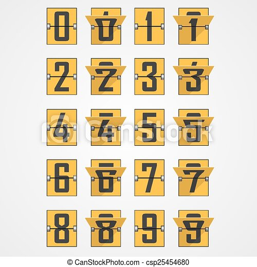 Numbers from Mechanical Scoreboard Alphabet - csp25454680