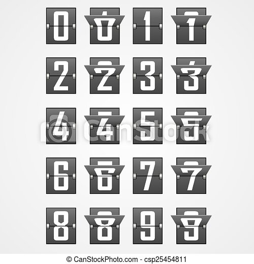 Numbers from Mechanical Scoreboard Alphabet - csp25454811