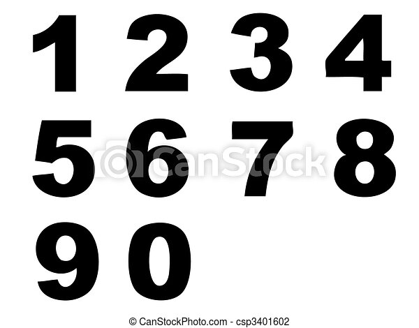 Number letters in silhouette as symbol of numbers and vector