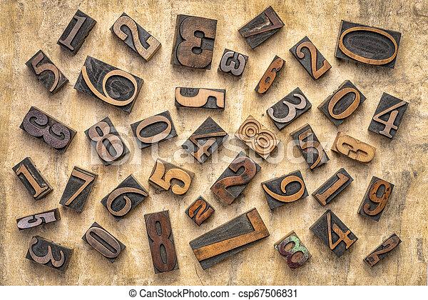 numbers in letterpress wood type - csp67506831