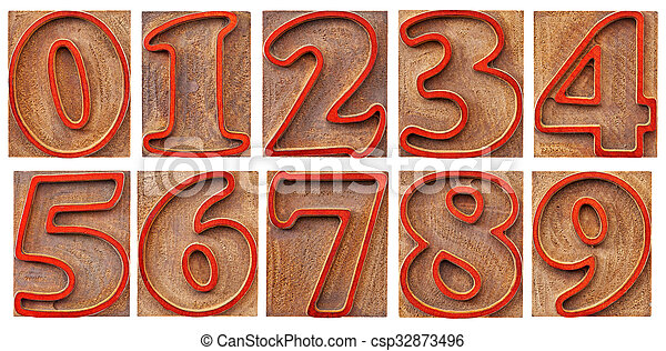 numbers in outlined letterpress type - csp32873496