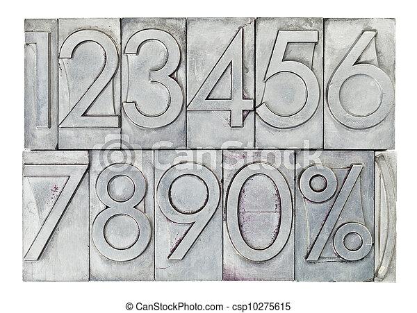 numbers in vintage metal type - csp10275615