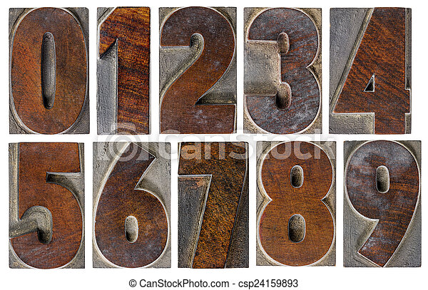 numbers in wood type - csp24159893